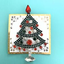 Large Crystal Rhinestone Christmas Tree Red Green Silver Brooch Pin New Gift