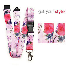 ROSES IN PINK Long Lanyard As Neck Strap Holder for keys, badge, Id card Rosa