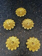 Glitter Yellow Gold Floating Candles (Pack of 5)