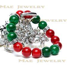 10mm Famous Brand Style Bracelet Chalcedony/Jadestones925 SterlingSilver.