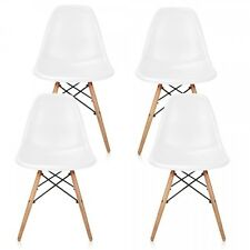 Set of 4 Eames Style DSW  White Plastic Shell Chair with Wood Eiffel Legs