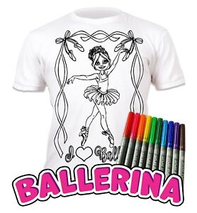 Splat Planet Colour-in Ballerina T-Shirt with 10 Non-Toxic Washable Magic Pens