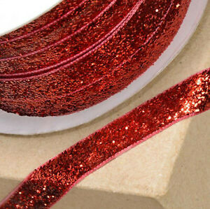 RED VELVET GLITZY RIBBON 10mm x 10M CRAFT CHRISTMAS CAKE GIFT WRAP BIRTHDAY