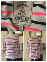 Joules White Pink Navy Striped Top 3/4 Sleeves Size 8UK Marines Cotton Seaside