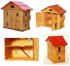 4056  Puppenhaus, Haus aus Holz Puppenstube Holzhaus mit Türen und roten Dach