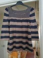 Miss Selfridge Beige & Blue Striped Jumper, 3/4 Sleeves, Square Neck, Size 6, GC