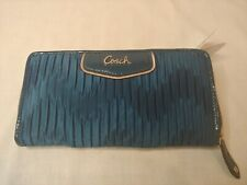 NWT COACH SV Ocean Blue Ashley Gathered Satin Zip Around Wallet F48115