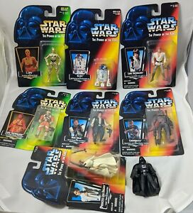 Star Wars POTF2 Power Force lot of 7 red green cards 1994 MOC