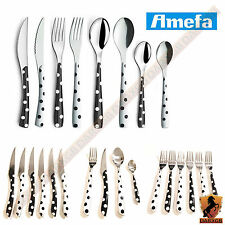 Amefa Eclat Mono Dots 24 Piece Stainless Steel Cutlery Set Kitchen Dining Table
