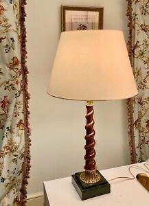 """Maitland Smith handmade Twisted Wood brass and green shell base  Lamp, 32"""" Tall"""