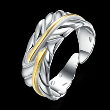 Classic 925 Sterling Silver Filled 2 Tone Feather Open adjustable Ring R-A346