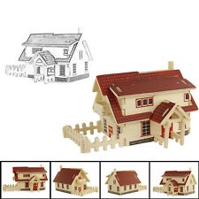 European House 3d jigsaw puzzle Toys wooden adult children's intelligence Toys