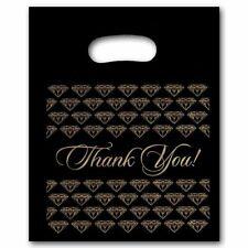 "Medium Black Thank You Merchandise Plastic Retail Handle Bags 12"" x 15"" Tall"