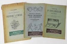 *** BON LOT DE 3 OUVRAGES SUR LE DESSIN ET LA PEINTURE : HUILE, AQUARELLE - 1940