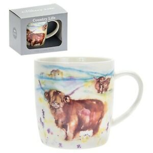 New boxed Highland Cow animal  artistic gift fine china mug coffee cup Free P+P