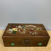 Noble Boxwood Inlay Conch flower bird Art Usable Precious woman big Jewelry Box