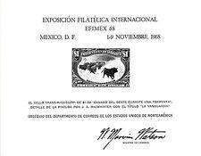 A 1968 U. S. P. S. Souvenir Card - EFIMEX - $1.00 Cattle In Storm Stamp - PS2