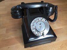 ORIGINAL VINTAGE 1960's BLACK BAKELITE ROTARY DIAL GPO 332L TELEPHONE