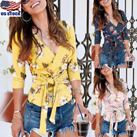 Womens Floral V Neck Tops Shirt Ladies Tie Bandage Long Sleeve Blouse T-Shirt US