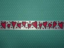 Berisfords Love Hearts on White Satin Ribbon 25mm Wide