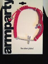 Fine Silver Plated with Sideways Cross Braided Pink Color Arm Party Bracelet NWT
