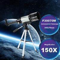 150X Portable Terrestrial Astronomical Refractor 300x70mm Tabletop Telescope