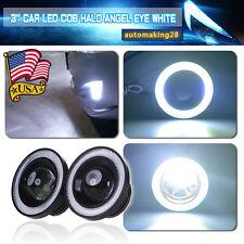 """2x High Power 3"""" inch Projector LED Fog Light w/ COB Halo Angel Eye Rings Car US"""
