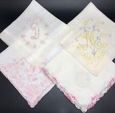"Monogrammed ""D"" & ""M"" Vintage Hankies w/ Floral Embroidery; Lot of 4 (RF1011)"