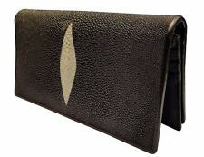Black Genuine Handmade Stingray Skin Long Wallets Leather Bifold Men Wallet