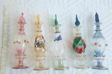Lot of 5 Egyptian handmade Mouth Blown Perfume Bottles Pyrex Glass Large size
