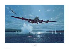 SIMON W. ATACK SIGNED PRINT 'HOPGOOD'S COURAGEOUS RUN'. DAMBUSTER. LANCASTER.WW2