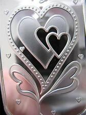 1-OZ PURE SILVER BEAUTIFUL ART BAR 3 HEARTS WITH LOVE SOMEONE SPECIAL GIFT+GOLD