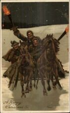 Christmas - Group on Horse Sleigh w/ Torches c1910 Postcard Nice Details