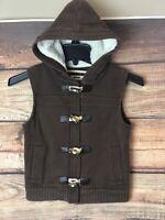 Kids Boys Old Navy Brown Toggle Hoodie Cold Weather Vest Jacket 5-6 Fleece Lined