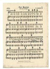 VTG BOSTON COLLEGE song sheet - 'FOR BOSTON'- music C 1950 - CHESTNUT HILL