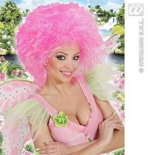 Neon Pink Afro Wig Pantomime Fairy God Mother Fancy Dress