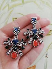 AD206 Art Deco Vintage Silver 2 in 1 White Sapphire Agate / blue glass Earrings