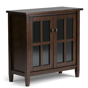 Warm Shaker Solid Wood Low Storage Cabinet in Brown