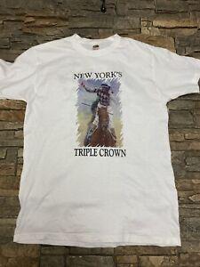 Vtg 2003 Belmont Stakes New York Triple Crown T Shirt Sz L Empire Maker White