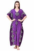 Womens Long Maxi Cotton Kaftan Long Caftan Drawstring Waist Night Wear