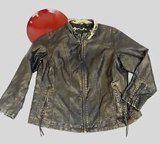 Big Chill Vintage Womens Faux Leather Jacket 1X XL Distressed Brown/Gold Zip Up