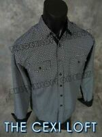 Mens ID By CAVIAR DREMES Casual Dress Button Shirt Black w/ White Accent Pattern