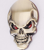 Bronze Skeleton Skull Bone 3D Metal Auto Car Motor Logo Emblem Badge Sticker
