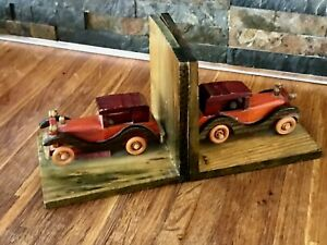 Classic Car Bookends-Vintage Handcrafted Wood-Vintage Car-Many Years Old
