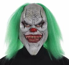 Morris Costumes New Latex Evil Clown Fiber Hair Mask Green One Size. MR131301