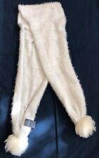 NWT!!!  Soft Ivory/Grey Eyelash Knit Scarf With Pompom Ends By Abercrombie Kids
