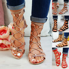 New Womens Low Heel Sandals Gladiator Strappy Tie Up Comfy Holiday Shoes Sizes