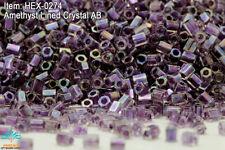Miyuki Hexagon 2 Cut 11/0 Amethyst Lined Crystal AB Hex-0274