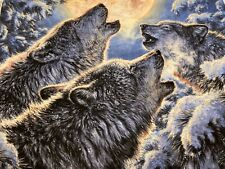 """Wolf Animals Wolves Howling at Moon Cotton Fabric David Textiles 36"""" X 44"""" Panel"""