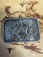 Fritch Bros Bronc Rider Sterling Silver Western Buckle cowboy vintage